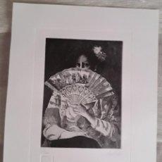 Arte: GRABADO DE PACO CUADRADO (1939-2017). MUJER CON ABANICO. FIRMADO Y FECHADO. PERFECTO ESTADO.. Lote 211480869