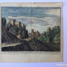 Arte: GRABADO ANTIGUO COLOREADO. VISTA ALHAMBRA DE GRANADA (ANDALUCIA, ESPAÑA) PIETER VAN DER AA. Lote 211495570