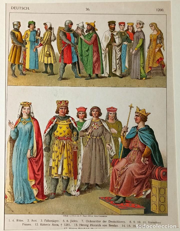 1885 - CROMOLITOGRAFÍA ORIGINAL - VESTIMENTA ALEMANA 1200 - GRABADO ALEMAN - CHROMOLITHOGRAPHIE (Arte - Grabados - Modernos siglo XIX)