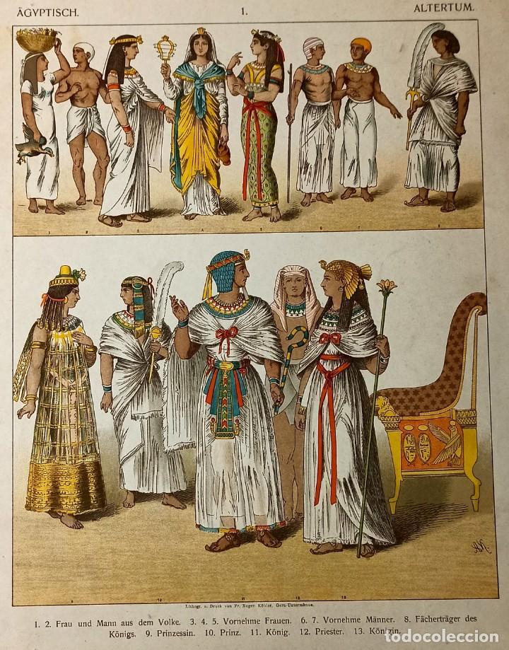 1885 - CROMOLITOGRAFÍA ORIGINAL - VESTIMENTA ANTIGUO EGIPTO - GRABADO ALEMAN - CHROMOLITHOGRAPHIE (Arte - Grabados - Modernos siglo XIX)