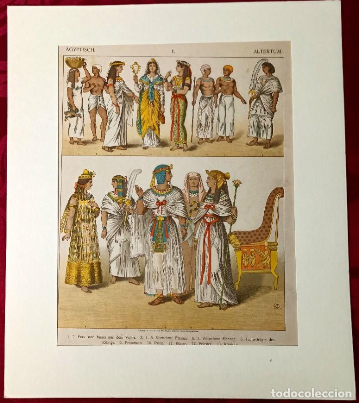 Arte: 1885 - Cromolitografía original - Vestimenta Antiguo Egipto - Grabado aleman - Chromolithographie - Foto 2 - 211496299