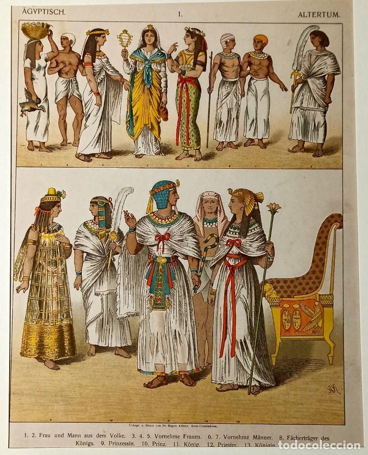 Arte: 1885 - Cromolitografía original - Vestimenta Antiguo Egipto - Grabado aleman - Chromolithographie - Foto 3 - 211496299