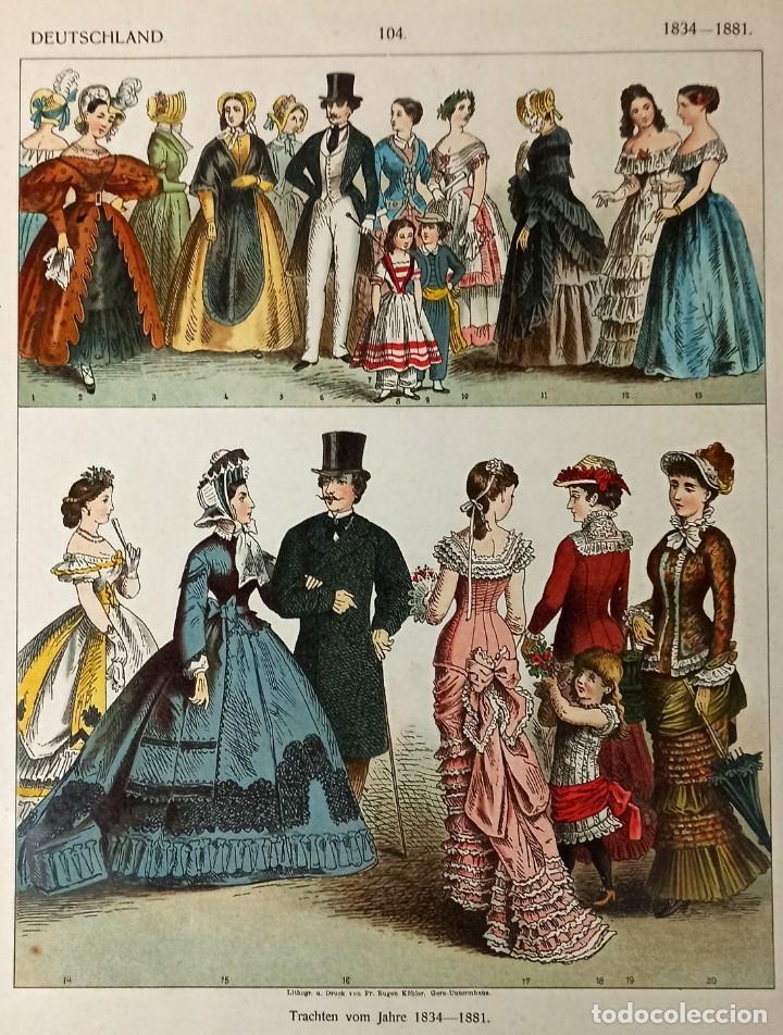 1885 - CROMOLITOGRAFÍA ORIGINAL - VESTIMENTA EPOCA ALEMANA 1834 - 1881 - CHROMOLITHOGRAPHIE (Arte - Grabados - Modernos siglo XIX)