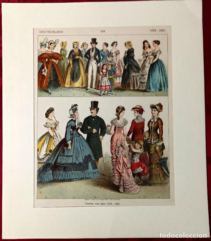 Arte: 1885 - Cromolitografía original - Vestimenta Epoca alemana 1834 - 1881 - Chromolithographie - Foto 2 - 211496414