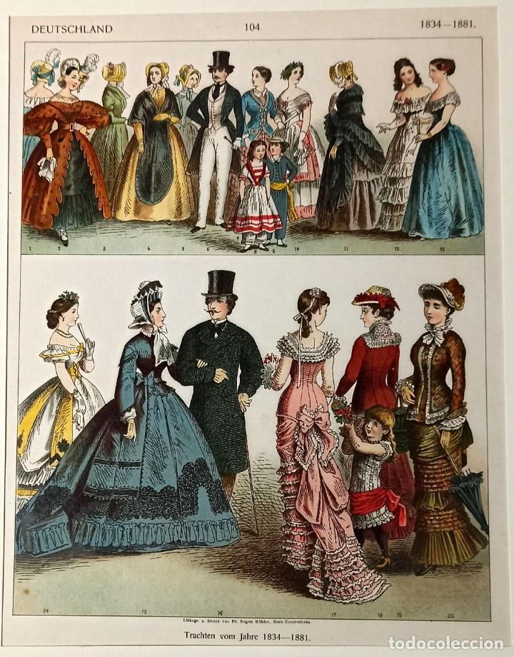 Arte: 1885 - Cromolitografía original - Vestimenta Epoca alemana 1834 - 1881 - Chromolithographie - Foto 3 - 211496414