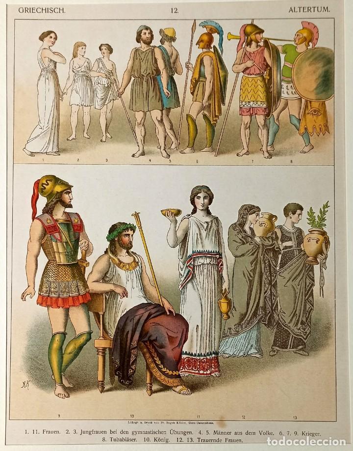 1885 - CROMOLITOGRAFÍA ORIGINAL - VESTIMENTA ANTIGUA GRECIA - CHROMOLITHOGRAPHIE (Arte - Grabados - Modernos siglo XIX)