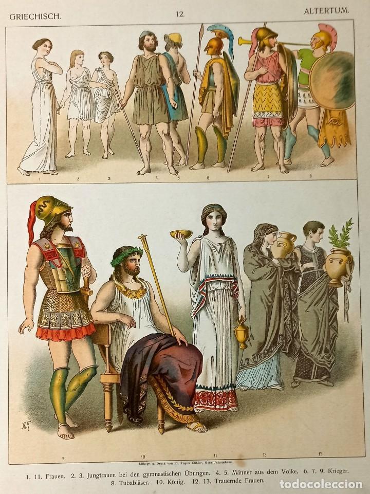 Arte: 1885 - Cromolitografía original - Vestimenta Antigua Grecia - Chromolithographie - Foto 2 - 211496572