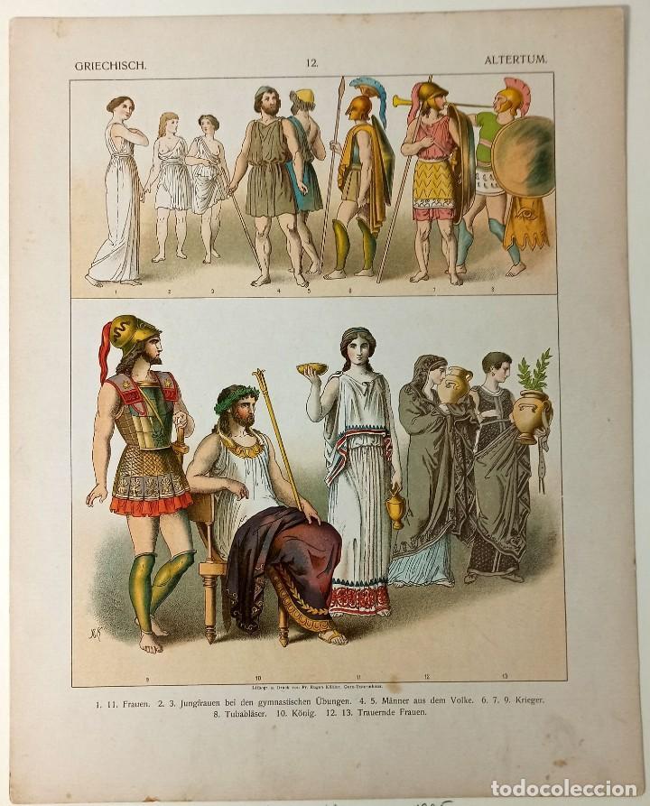 Arte: 1885 - Cromolitografía original - Vestimenta Antigua Grecia - Chromolithographie - Foto 3 - 211496572