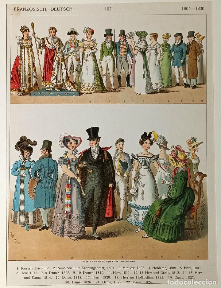 1885 - CROMOLITOGRAFÍA ORIGINAL - VESTIMENTA FRANCIA ALEMANIA 1804 - 1830 - CHROMOLITHOGRAPHIE (Arte - Grabados - Modernos siglo XIX)
