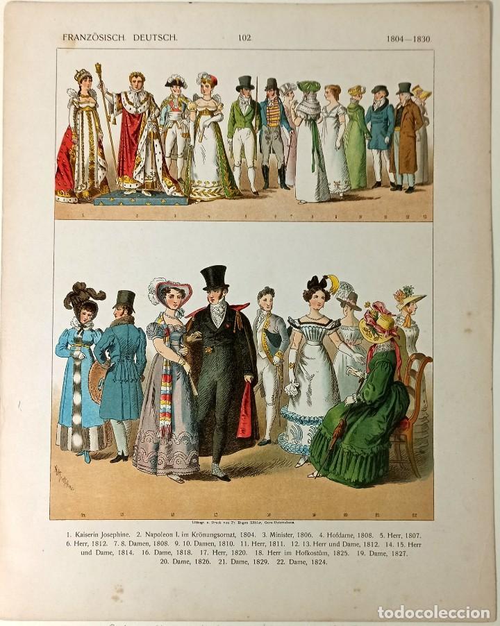 Arte: 1885 - Cromolitografía original - Vestimenta Francia Alemania 1804 - 1830 - Chromolithographie - Foto 2 - 211496682