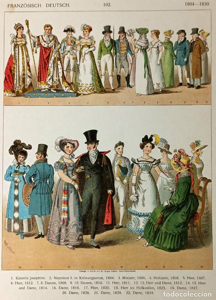 Arte: 1885 - Cromolitografía original - Vestimenta Francia Alemania 1804 - 1830 - Chromolithographie - Foto 3 - 211496682