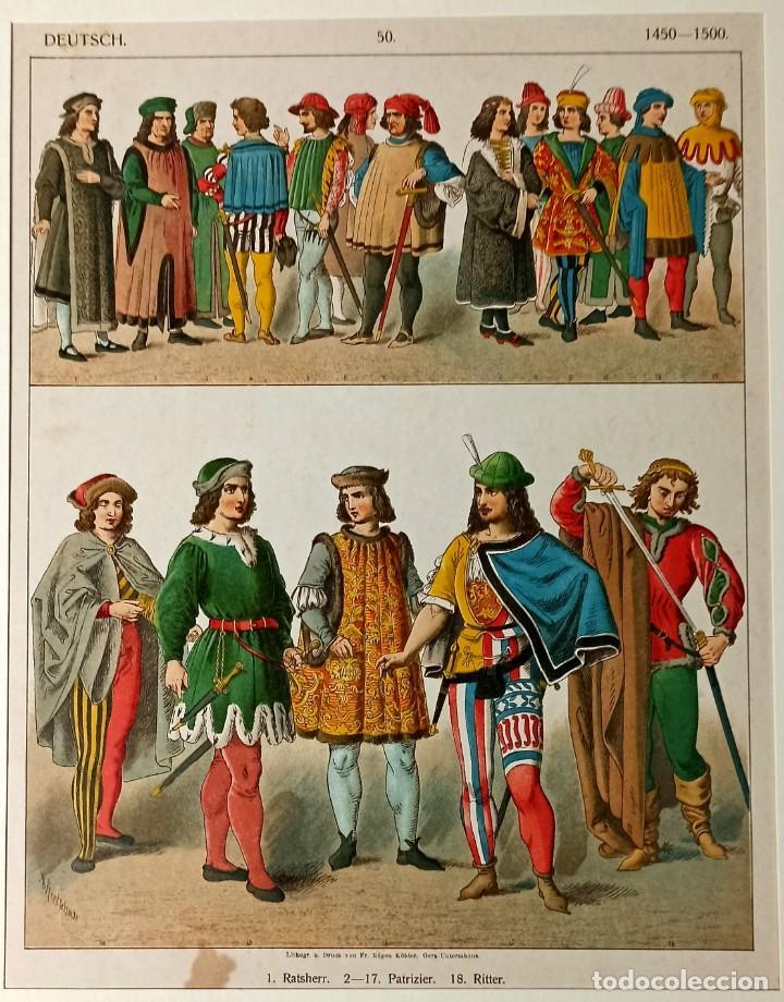 1885 - CROMOLITOGRAFÍA ORIGINAL - VESTIMENTA ALEMANIA 1450 - 1500 - CHROMOLITHOGRAPHIE (Arte - Grabados - Modernos siglo XIX)