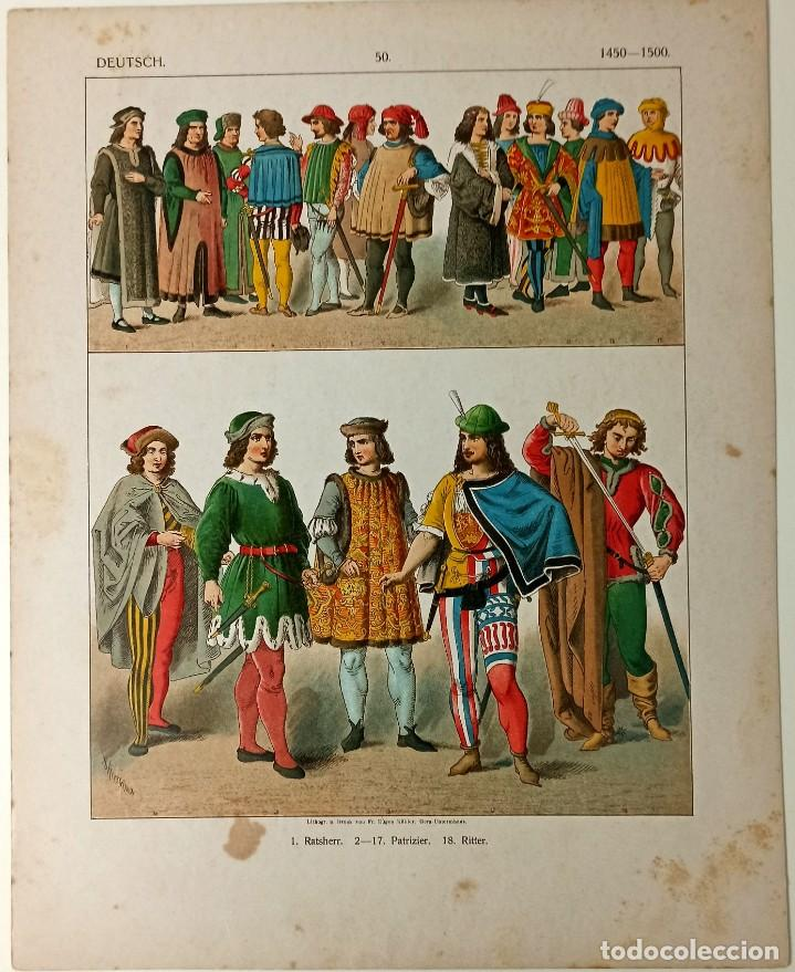 Arte: 1885 - Cromolitografía original - Vestimenta Alemania 1450 - 1500 - Chromolithographie - Foto 2 - 211496760