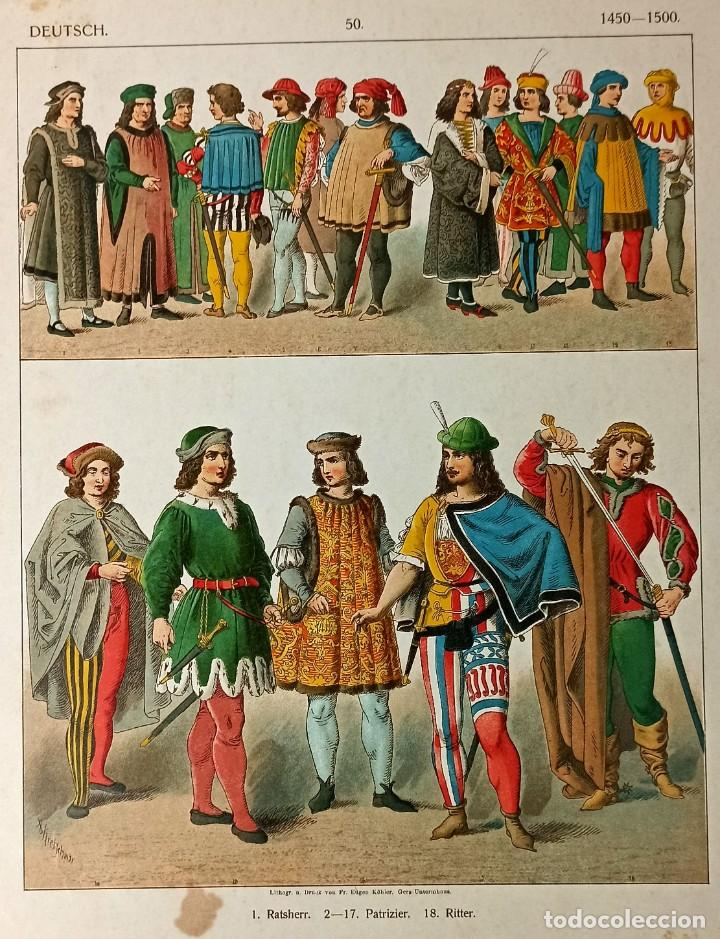Arte: 1885 - Cromolitografía original - Vestimenta Alemania 1450 - 1500 - Chromolithographie - Foto 3 - 211496760