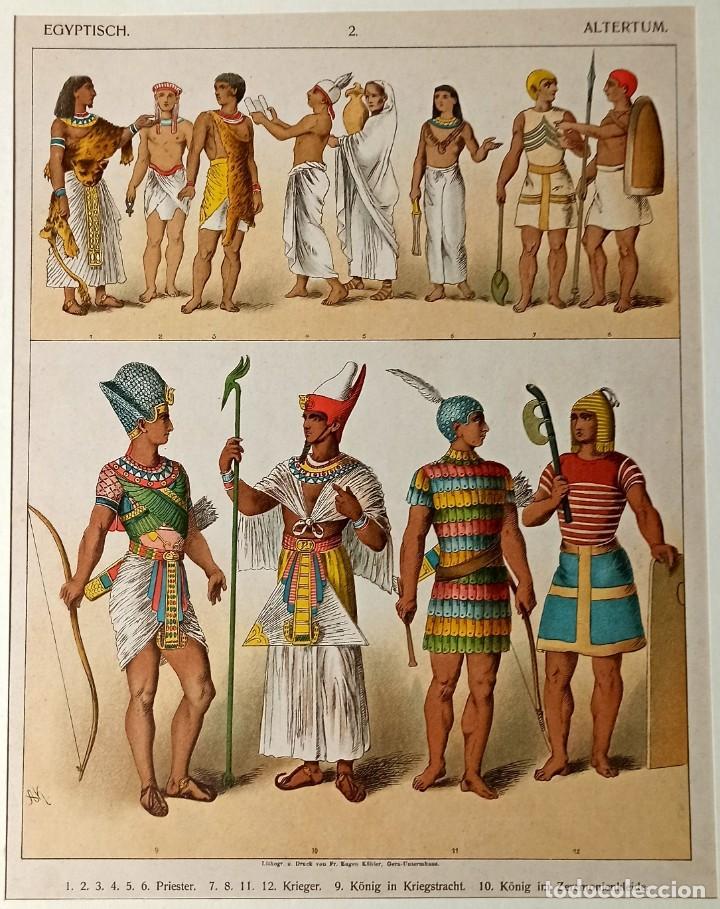 1885 - CROMOLITOGRAFÍA ORIGINAL - VESTIMENTA ANTIGUO EGIPTO - CHROMOLITHOGRAPHIE (Arte - Grabados - Modernos siglo XIX)