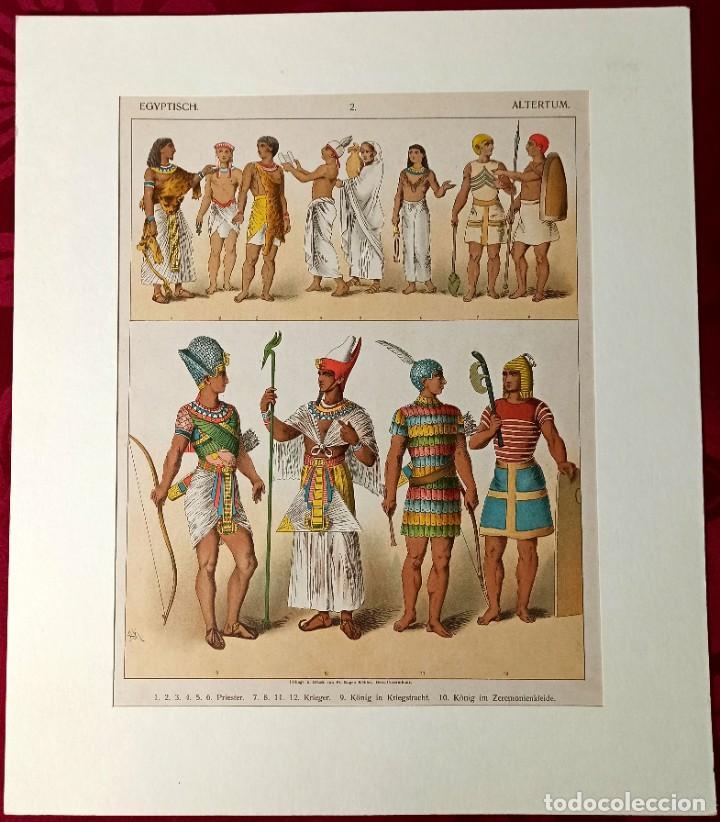 Arte: 1885 - Cromolitografía original - Vestimenta Antiguo Egipto - Chromolithographie - Foto 2 - 211496837
