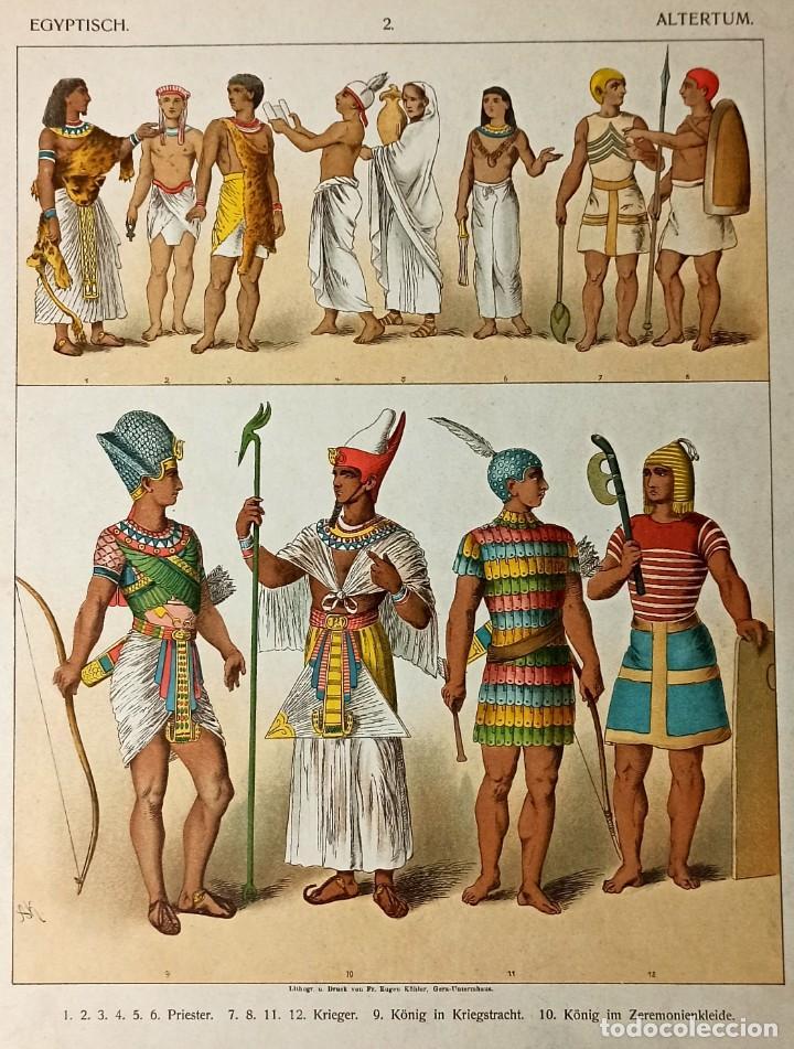 Arte: 1885 - Cromolitografía original - Vestimenta Antiguo Egipto - Chromolithographie - Foto 3 - 211496837