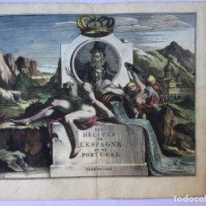 Arte: GRABADO ANTIGUO COLOREADO. PORTADA LIBRO DELICES ESPAGNE ET DU PORTUGAL (ESPAÑA) PIETER VAN DER AA. Lote 211496977
