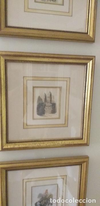 Arte: 4 GRABADOS COLOREADOS SIGLO XIX ENMARCADOS CON P0AN DE ORO Y PASPARTU ARTISTICO REALIZADO A MANO - Foto 4 - 211500020