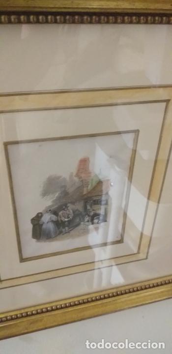 Arte: 4 GRABADOS COLOREADOS SIGLO XIX ENMARCADOS CON P0AN DE ORO Y PASPARTU ARTISTICO REALIZADO A MANO - Foto 6 - 211500020