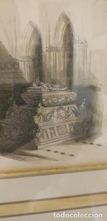4 GRABADOS COLOREADOS SIGLO XIX ENMARCADOS CON P0AN DE ORO Y PASPARTU ARTISTICO REALIZADO A MANO (Arte - Grabados - Modernos siglo XIX)