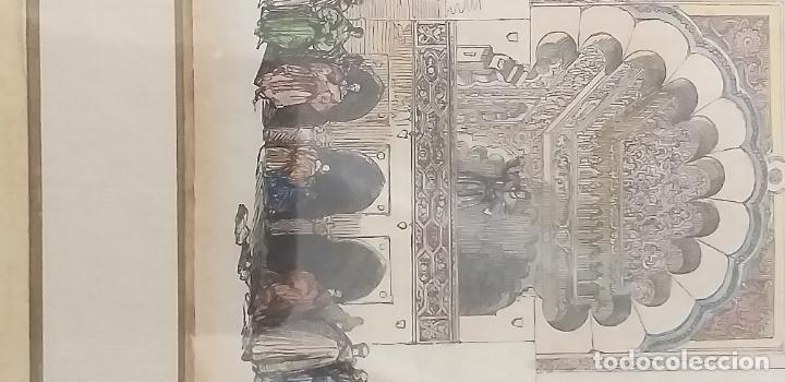 Arte: 4 GRABADOS COLOREADOS SIGLO XIX ENMARCADOS CON P0AN DE ORO Y PASPARTU ARTISTICO REALIZADO A MANO - Foto 8 - 211500020