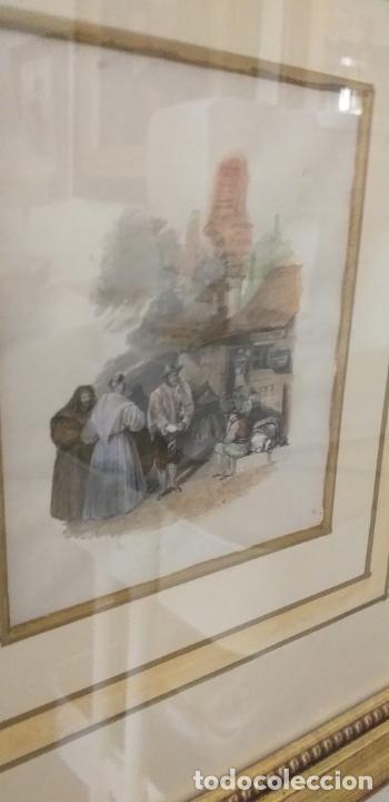 Arte: 4 GRABADOS COLOREADOS SIGLO XIX ENMARCADOS CON P0AN DE ORO Y PASPARTU ARTISTICO REALIZADO A MANO - Foto 9 - 211500020
