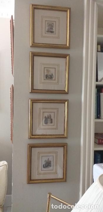 Arte: 4 GRABADOS COLOREADOS SIGLO XIX ENMARCADOS CON P0AN DE ORO Y PASPARTU ARTISTICO REALIZADO A MANO - Foto 3 - 211500020