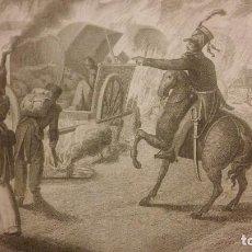 """Arte: GRABADO ANTIGUO: """"HORROROSA ESCENA CERCA DE CALELLA EN 1808"""". DATADO EN 1822.. Lote 211501736"""