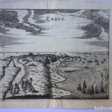 Arte: GRABADO ANTIGUO. VISTA DE CADIZ (ANDALUCÍA, ESPAÑA). MARTIN ZEILLER. AÑO 1656.. Lote 211565441