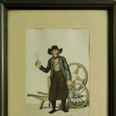 Arte: OFICIOS ANTIGUOS: AFILADOR AMBULANTE DE TIJERAS, HACIA 1808. C. SUHR. Lote 211577952