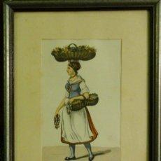 Arte: OFICIOS ANTIGUOS: VENDEDORA AMBULANTE DE VEGETALES, HACIA 1808. C. SUHR. Lote 211617390