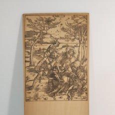 Arte: ANTIGUO GRABADO DE ALBRECHT DÜRER SOBRE MADERA, DETRÁS DE CARTEL DE VALIUM. Lote 211643094