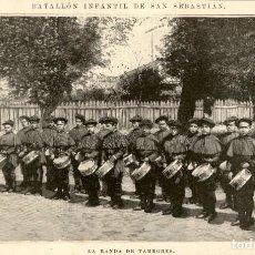 Arte: 1894 - BATALLON INFANTIL DE SAN SEBASTIAN - BANDA TAMBORES - LA ILUSTRACIÓN ESPAÑOLA Y AMERICANA. Lote 211683288