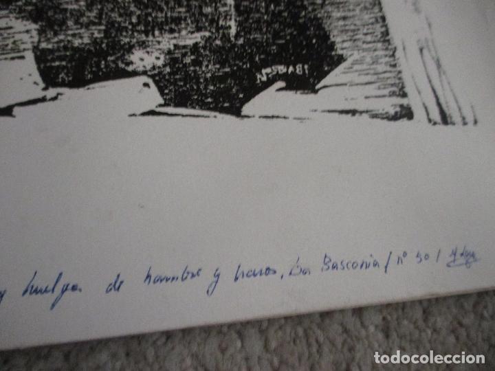Arte: Agustin Ibarrola, grabado xilográfico al linoleo, años 60, Estampa popular de Vizcaya - Foto 3 - 212092348