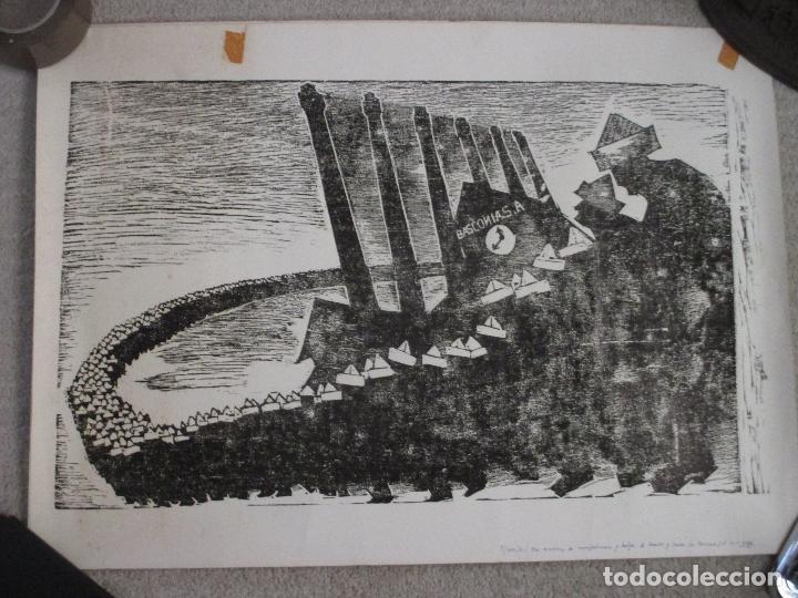 AGUSTIN IBARROLA, GRABADO XILOGRÁFICO AL LINOLEO, AÑOS 60, ESTAMPA POPULAR DE VIZCAYA (Arte - Grabados - Contemporáneos siglo XX)