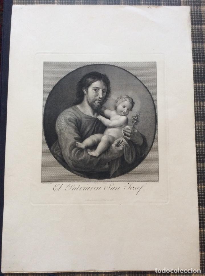 Arte: ANTIGUO GRABADO AL ACERO DE EL PATRIARCA SAN JOSEPH,grabado por Luis Fernández Noseret,SIGLO XVIII - Foto 2 - 212188208