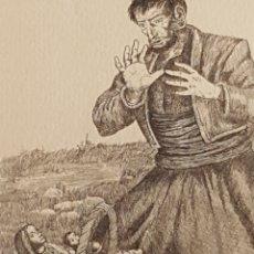 Arte: GRABADO AGUAFUERTE DE RAMÓN SALA LA MARE DE DÉU DEL VINYET DE SITGES SOPORTE PAPEL HILO. Lote 212500303
