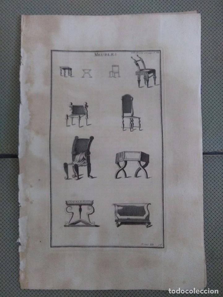 GRABADO MONTFAUCON 3 / MOBILIARIO / S. XVIII (Arte - Grabados - Antiguos hasta el siglo XVIII)