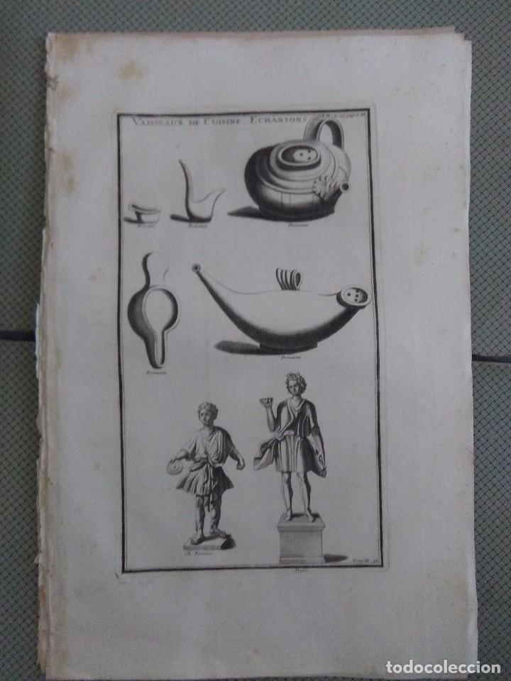 GRABADO MONTFAUCON 4 / OBJETOS DE COCINA / S. XVIII (Arte - Grabados - Antiguos hasta el siglo XVIII)