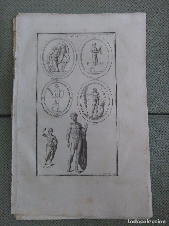 GRABADO MONTFAUCON 6 / GLADIADORES / S. XVIII (Arte - Grabados - Antiguos hasta el siglo XVIII)