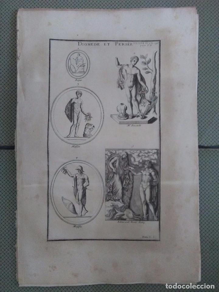 GRABADO MONTFAUCON 9 / MITOLOGÍA PERSEO / S. XVIII (Arte - Grabados - Antiguos hasta el siglo XVIII)