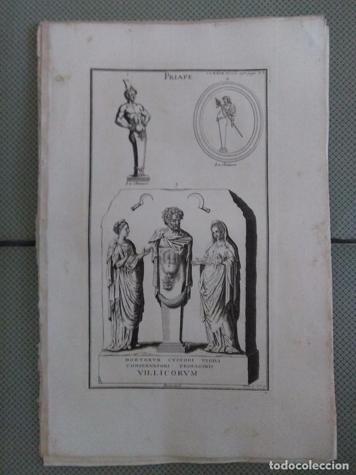 GRABADO MONTFAUCON 10 / MITOLOGÍA PRIAPO / S. XVIII (Arte - Grabados - Antiguos hasta el siglo XVIII)
