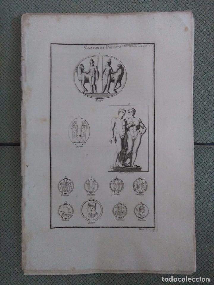 GRABADO MONTFAUCON 11 / MITOLOGÍA CASTOR Y POLUX / S. XVIII (Arte - Grabados - Antiguos hasta el siglo XVIII)