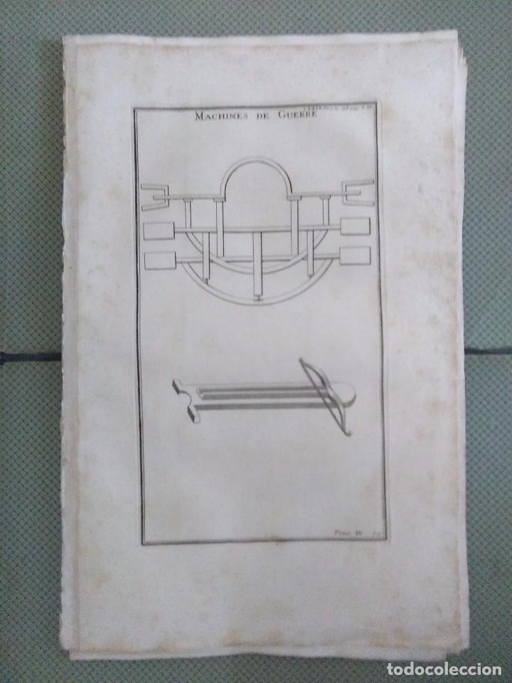 GRABADO MONTFAUCON 14 / MILITAR, MÁQUINAS DE GUERRA / S. XVIII (Arte - Grabados - Antiguos hasta el siglo XVIII)