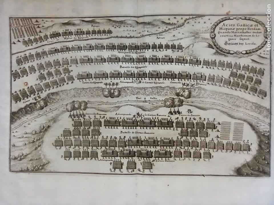 GRABADO BATALLA LÉRIDA, LLEIDA, CATALUÑA, 1642, GUERRA SEGADORES, ORIGINAL1648.MERIAN,FRANKFURT. (Arte - Grabados - Antiguos hasta el siglo XVIII)