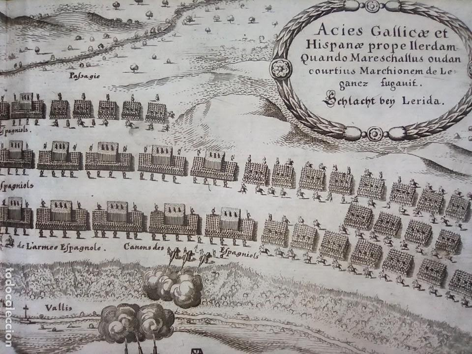 Arte: GRABADO BATALLA LÉRIDA, LLEIDA, CATALUÑA, 1642, GUERRA SEGADORES, ORIGINAL1648.MERIAN,FRANKFURT. - Foto 9 - 212544371