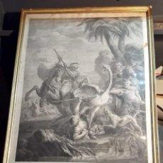 Arte: LA CAZA DEL AVESTRUZ. GRABADO POR BLAS AMETLLER SOBRE ORIGINAL DE BOUCHER. REAL CALCOGRAFÍA. Lote 212635913