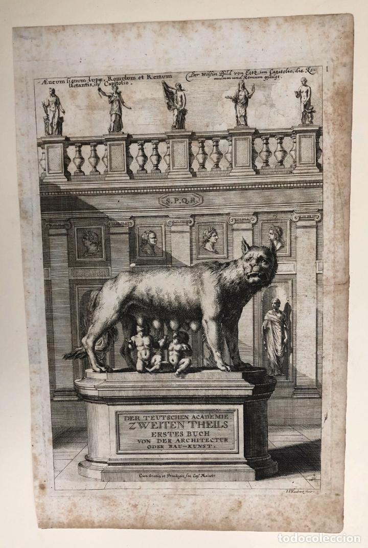 Arte: GRABADO ROMULO Y REMO. DER TEUTSCHEN ACADEMIE ZWEITEN THEILS. SANDRART. 1679 - Foto 2 - 212697522