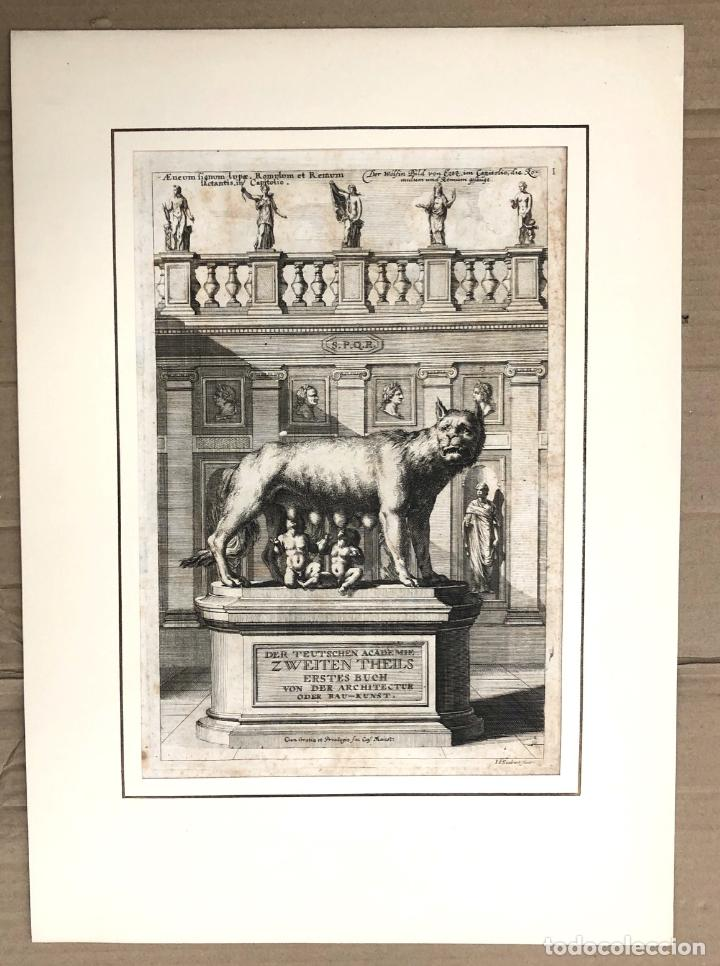GRABADO ROMULO Y REMO. DER TEUTSCHEN ACADEMIE ZWEITEN THEILS. SANDRART. 1679 (Arte - Grabados - Antiguos hasta el siglo XVIII)